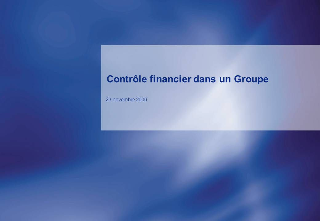 Contrôle financier dans un Groupe