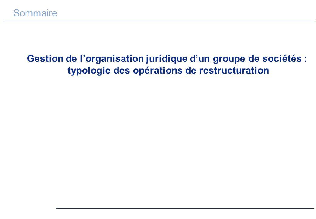 Sommaire Gestion de l'organisation juridique d'un groupe de sociétés : typologie des opérations de restructuration.