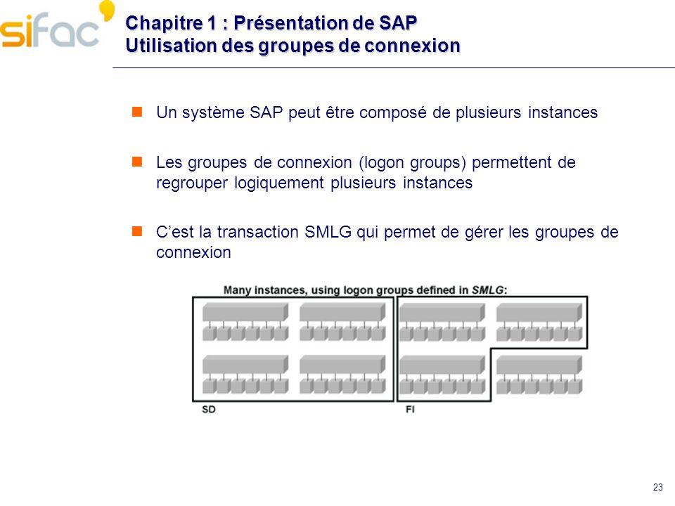 Chapitre 1 : Présentation de SAP Utilisation des groupes de connexion