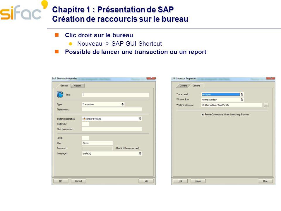 Chapitre 1 : Présentation de SAP Création de raccourcis sur le bureau
