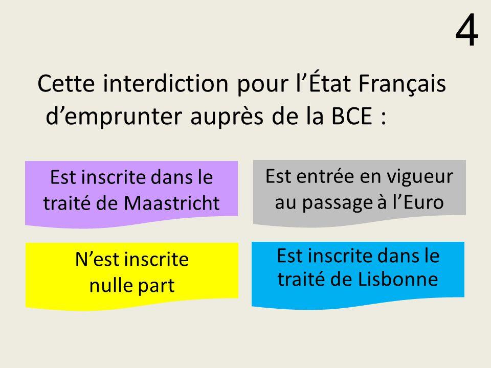 Cette interdiction pour l'État Français d'emprunter auprès de la BCE :