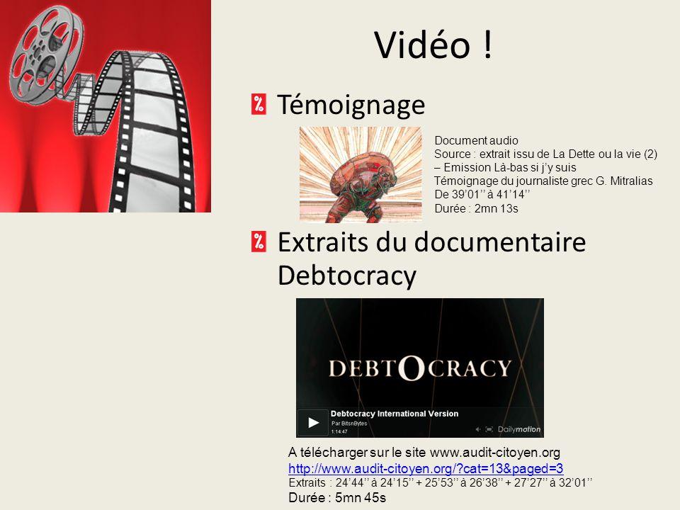 Vidéo ! Témoignage Extraits du documentaire Debtocracy