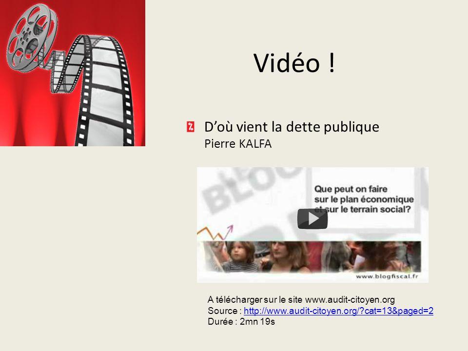 Vidéo ! Vidéo ! D'où vient la dette publique Pierre KALFA