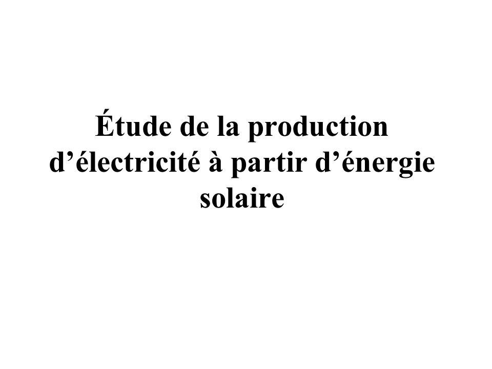 Étude de la production d'électricité à partir d'énergie solaire