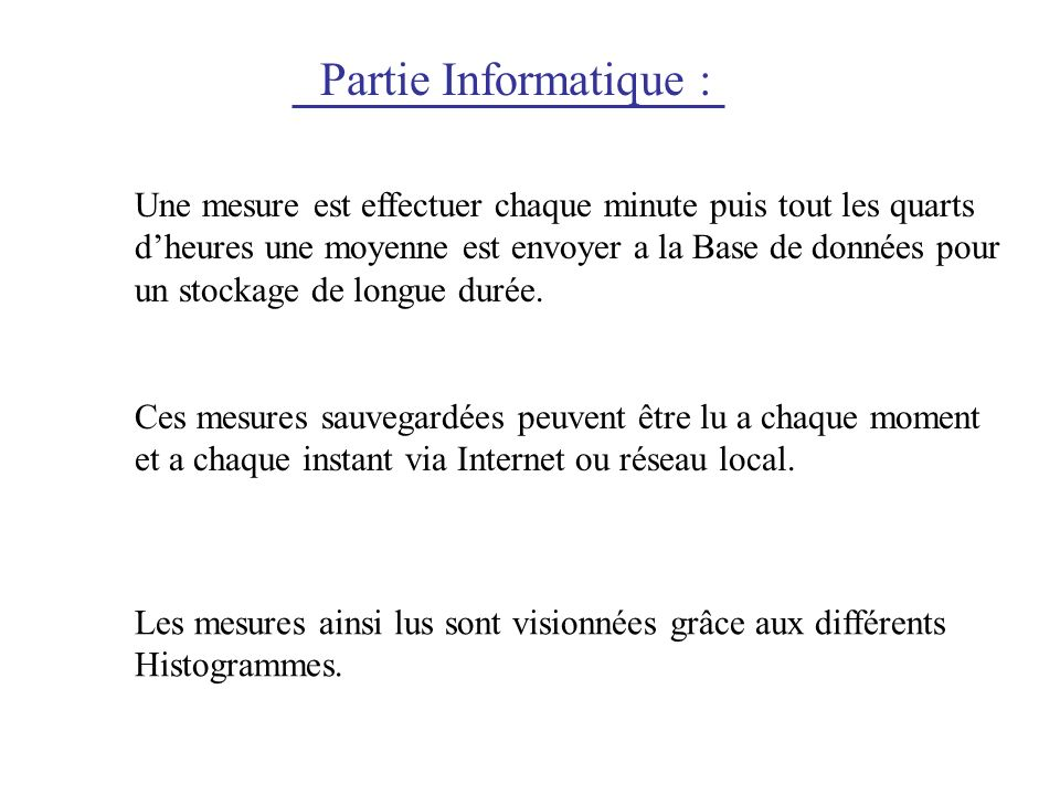 Partie Informatique :