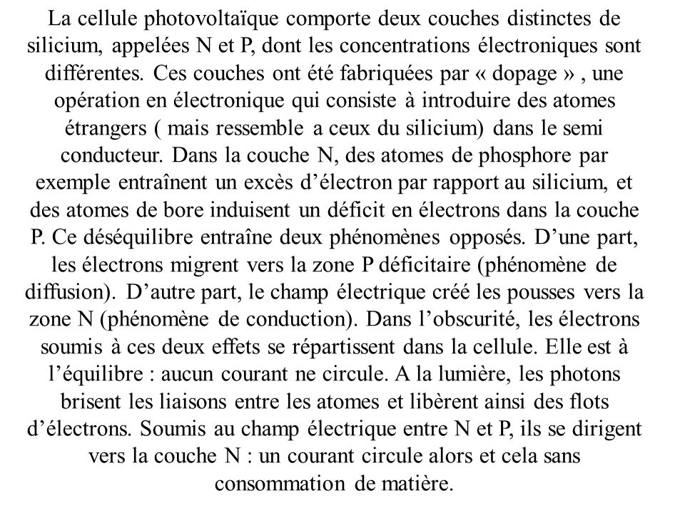 La cellule photovoltaïque comporte deux couches distinctes de silicium, appelées N et P, dont les concentrations électroniques sont différentes.