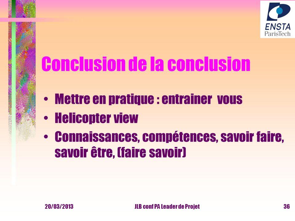 Conclusion de la conclusion