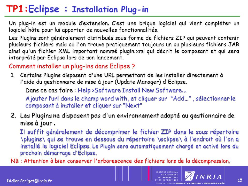 TP1:Eclipse : Installation Plug-in