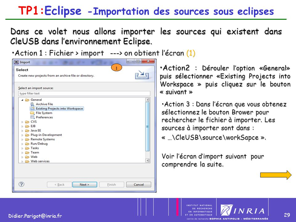 TP1:Eclipse -Importation des sources sous eclipses
