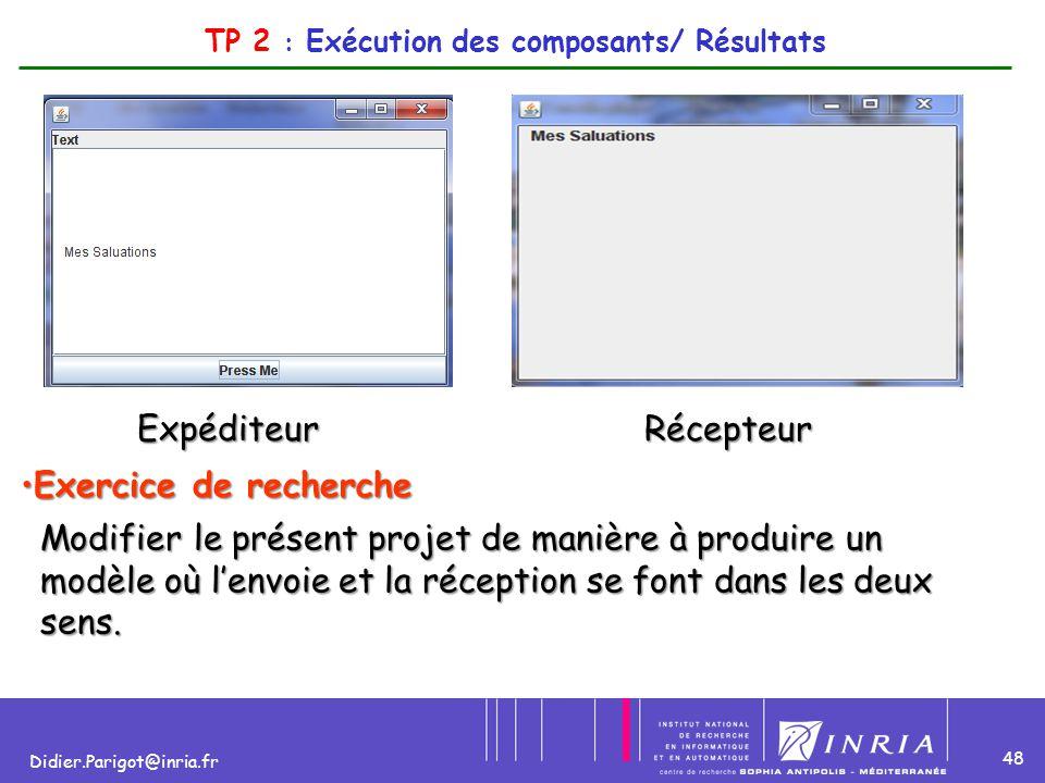 TP 2 : Exécution des composants/ Résultats