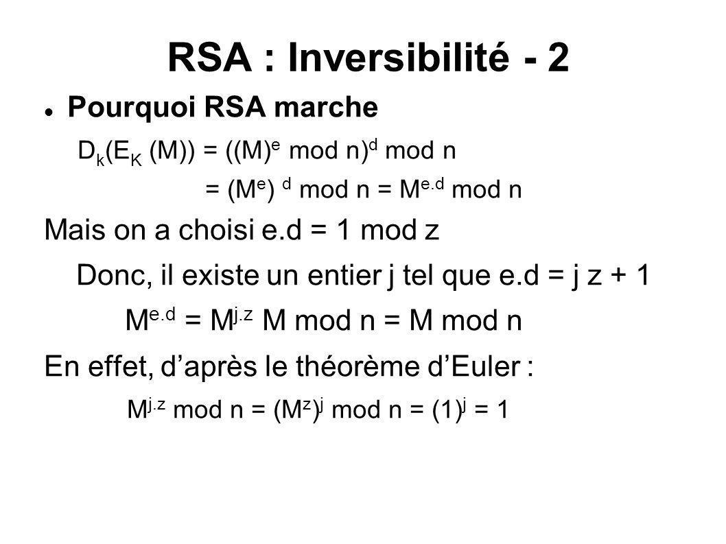 RSA : Inversibilité - 2 Pourquoi RSA marche