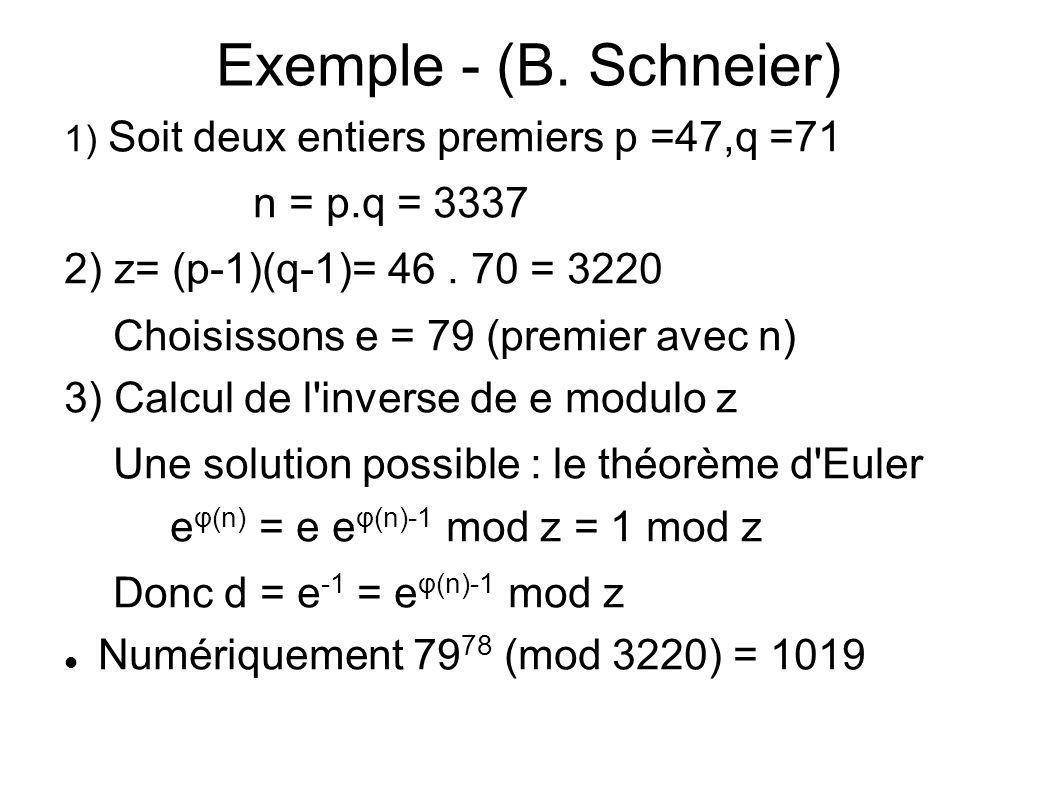 Exemple - (B. Schneier)