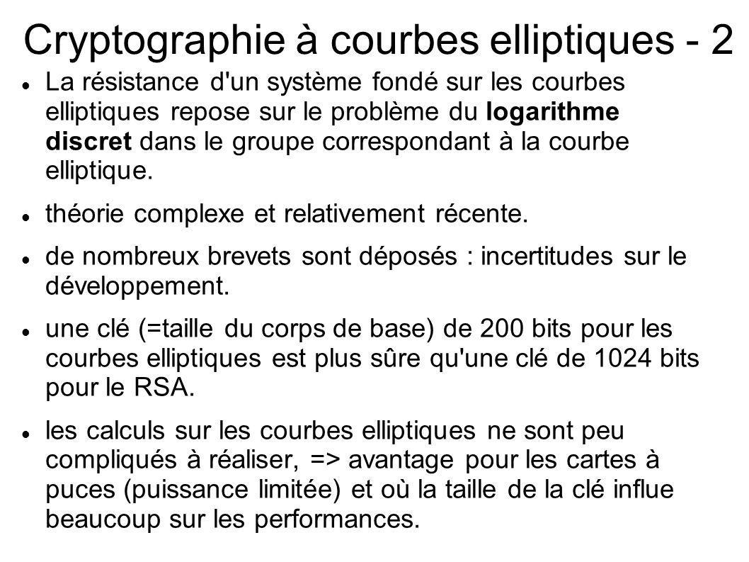 Cryptographie à courbes elliptiques - 2