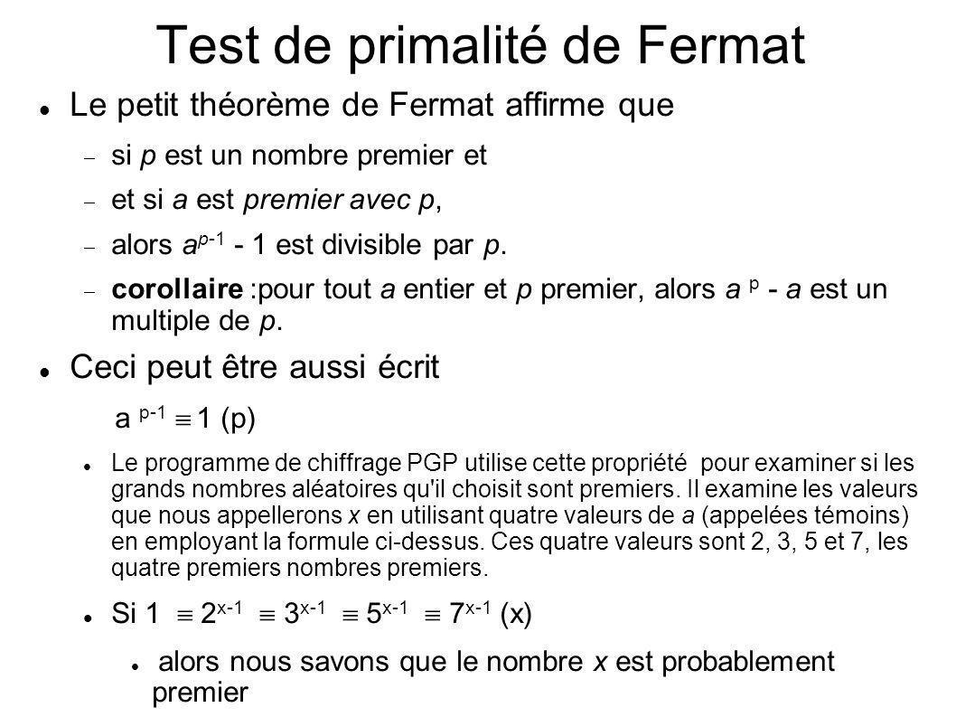 Test de primalité de Fermat