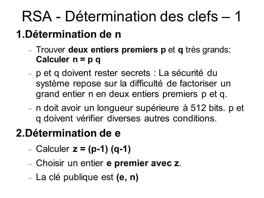 RSA - Détermination des clefs – 1