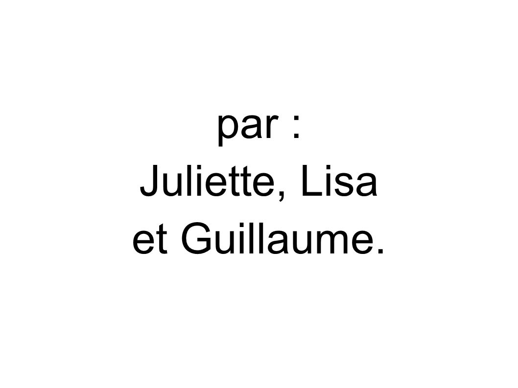 par : Juliette, Lisa et Guillaume.
