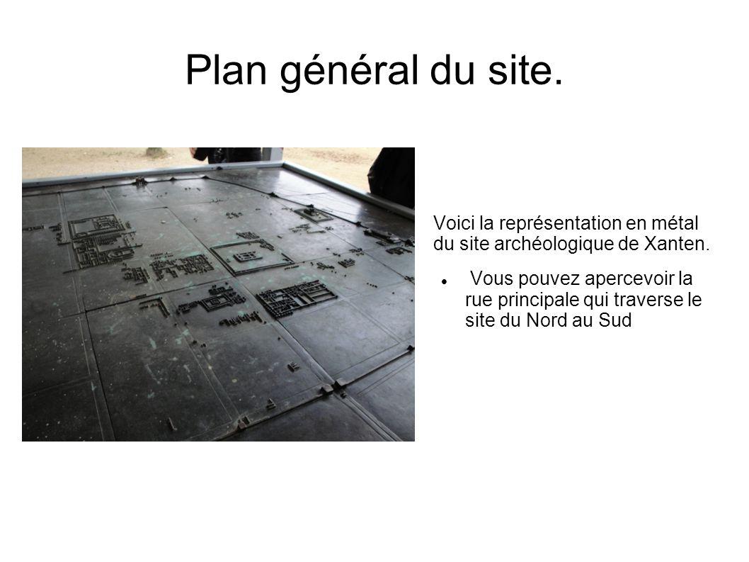 Plan général du site. Voici la représentation en métal du site archéologique de Xanten.