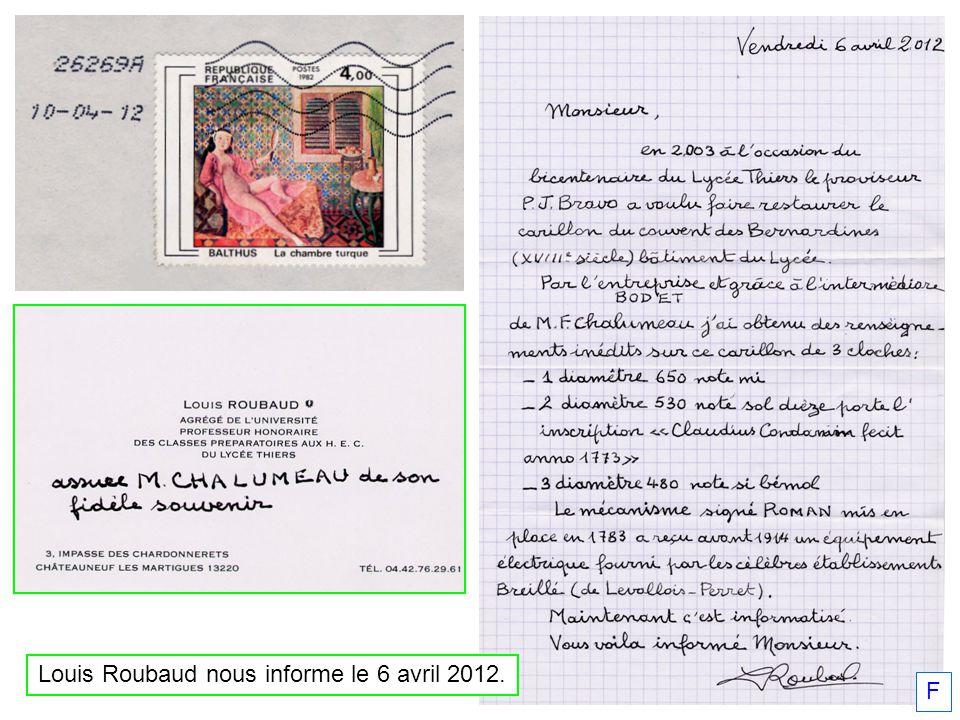 Louis Roubaud nous informe le 6 avril 2012.