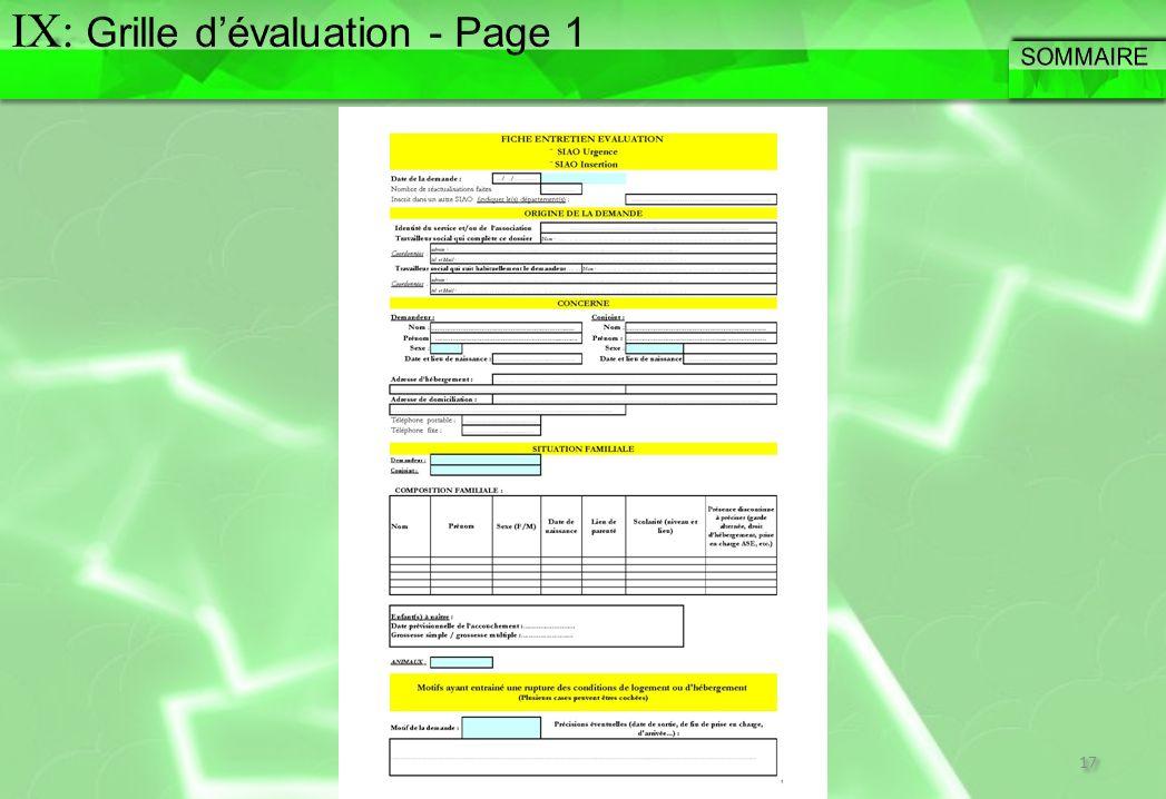 IX: Grille d'évaluation - Page 1