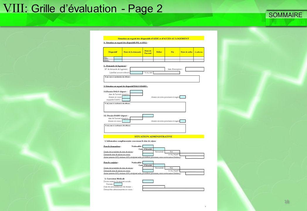 VIII: Grille d'évaluation - Page 2