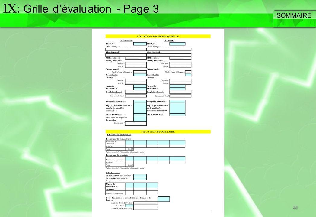IX: Grille d'évaluation - Page 3