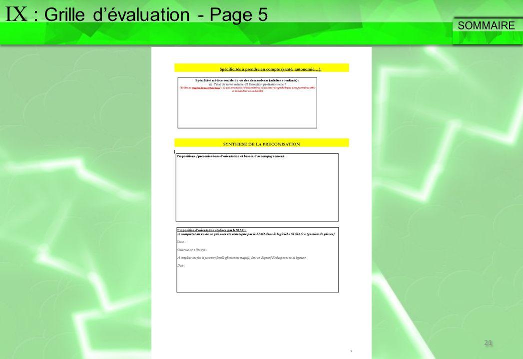 IX : Grille d'évaluation - Page 5