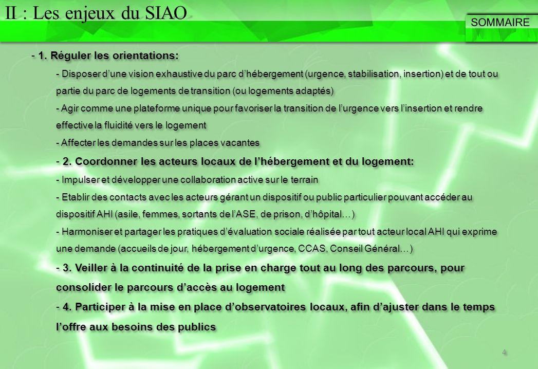 II : Les enjeux du SIAO SOMMAIRE 1. Réguler les orientations: