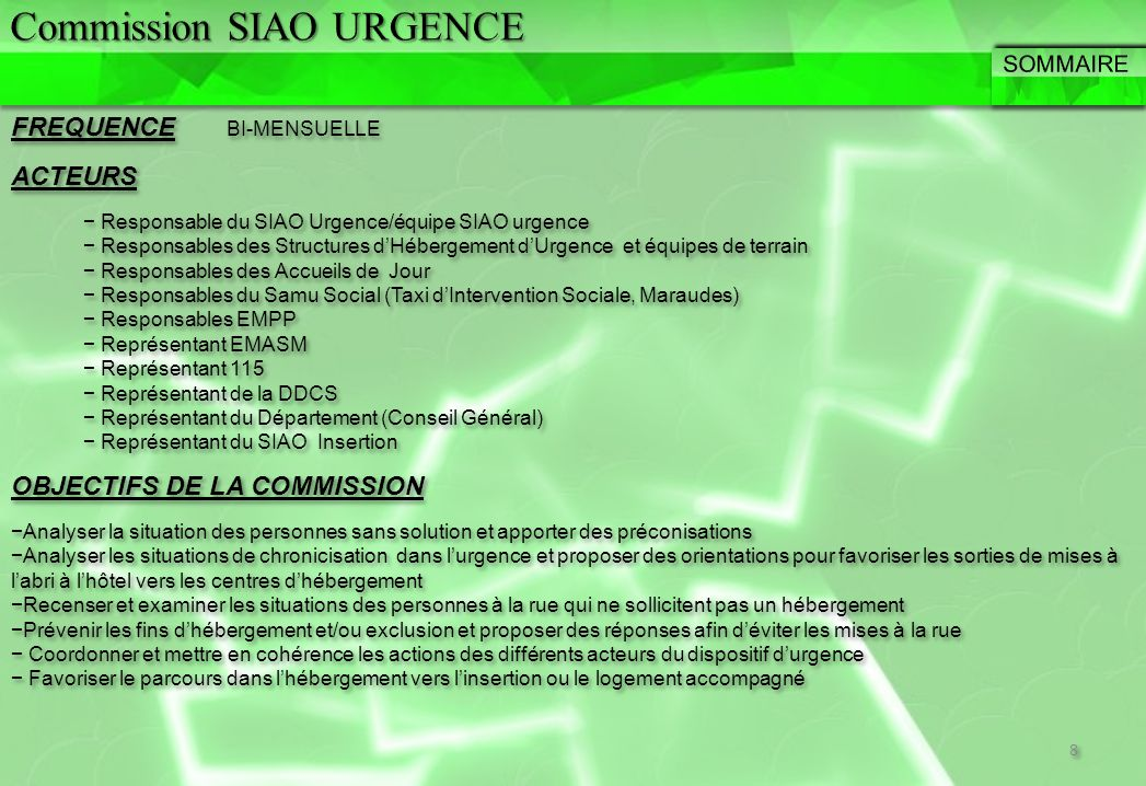 Commission SIAO URGENCE