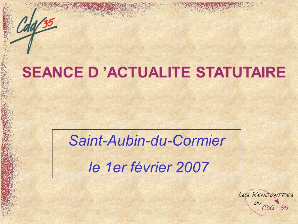 SEANCE D 'ACTUALITE STATUTAIRE