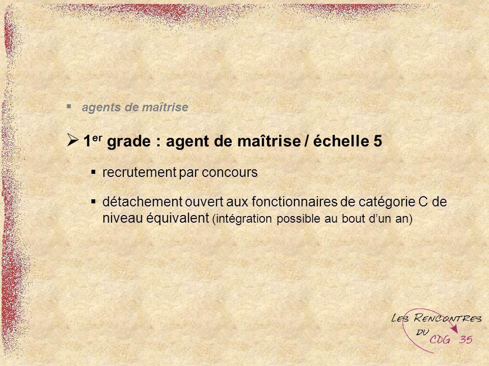 1er grade : agent de maîtrise / échelle 5