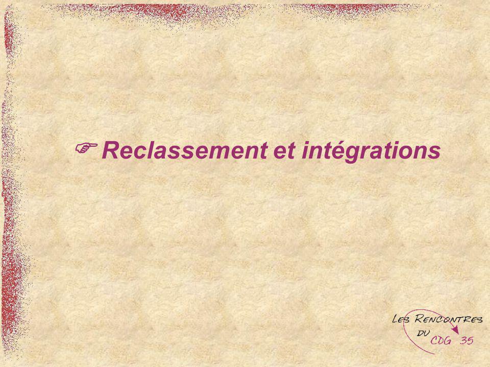  Reclassement et intégrations