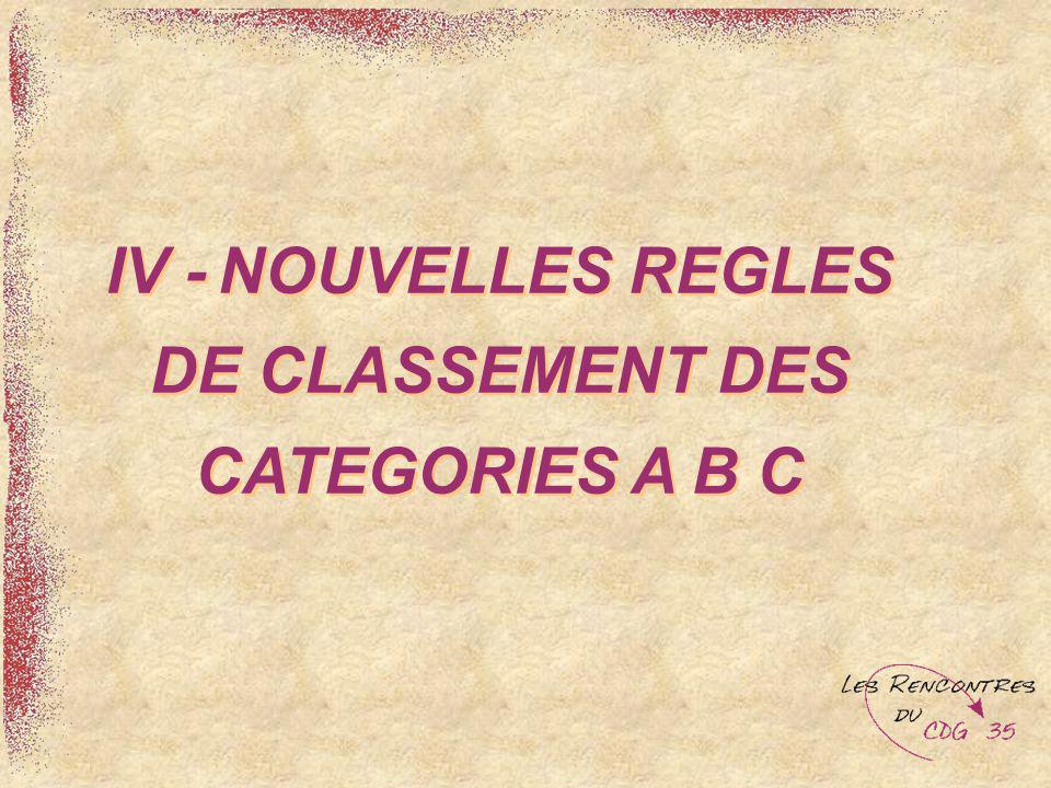 IV - NOUVELLES REGLES DE CLASSEMENT DES CATEGORIES A B C