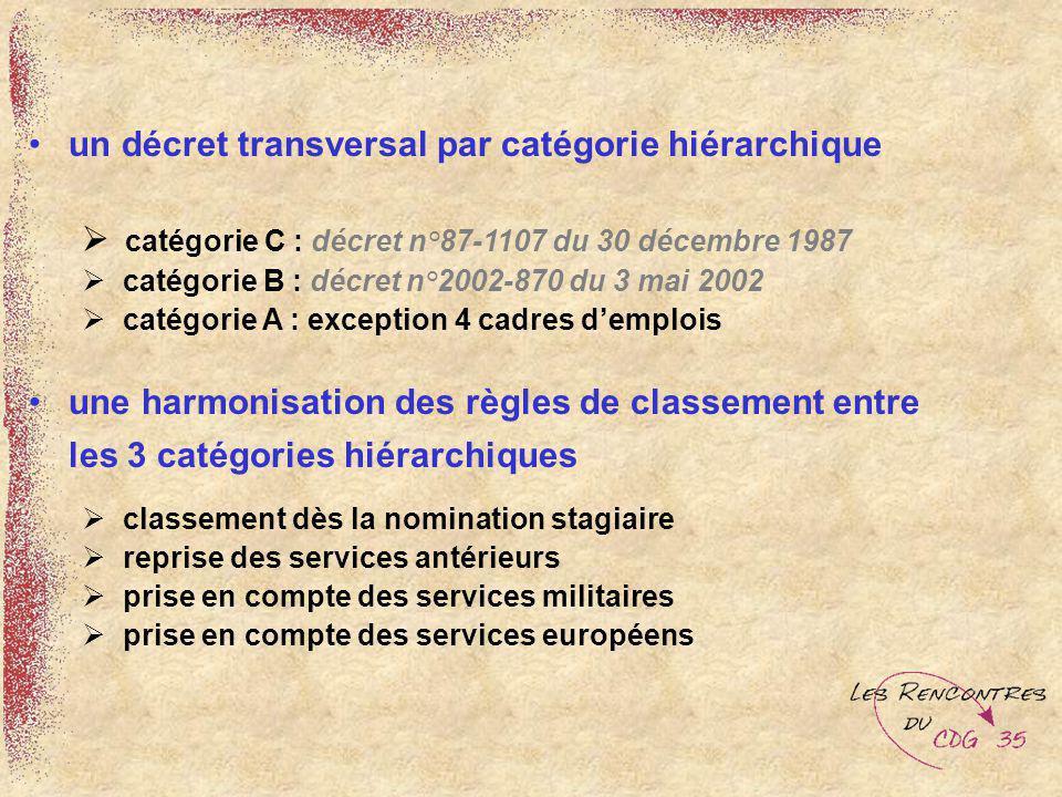 un décret transversal par catégorie hiérarchique