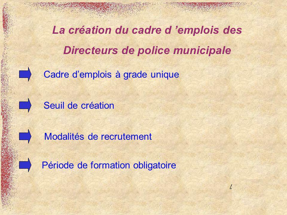 La création du cadre d 'emplois des Directeurs de police municipale