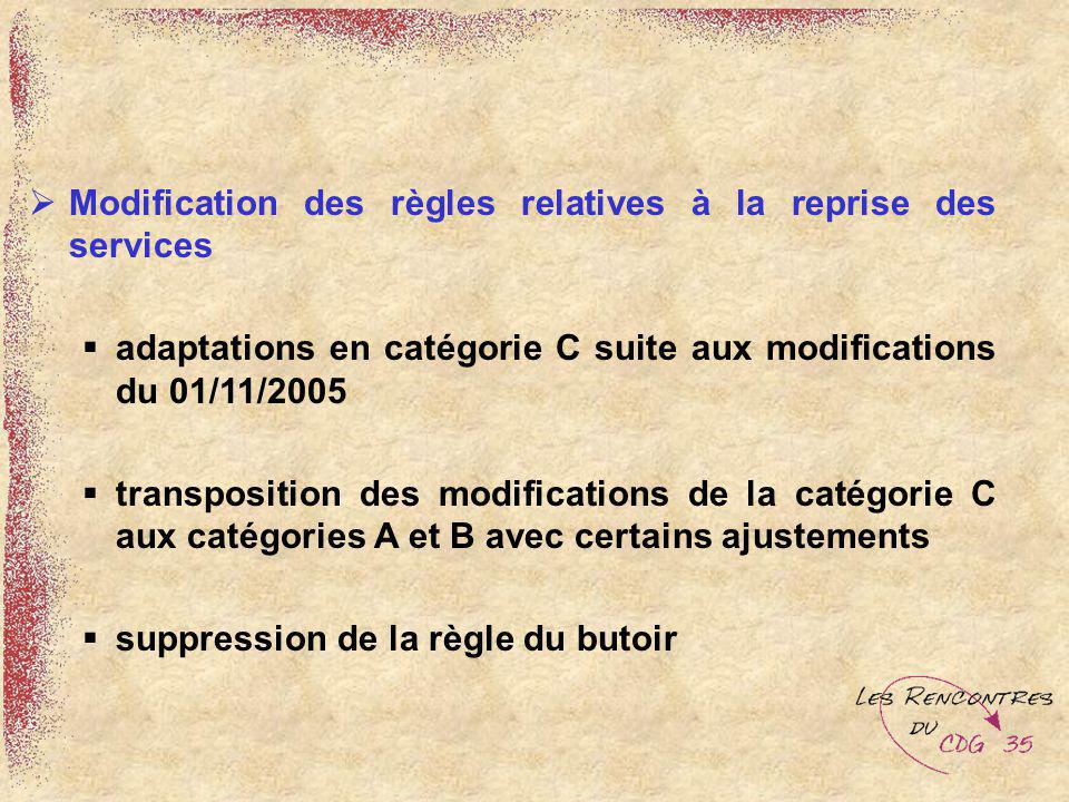 Modification des règles relatives à la reprise des services