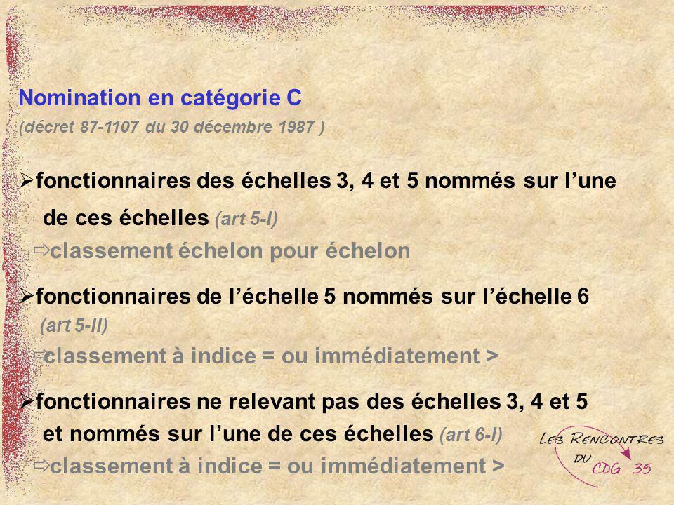 Nomination en catégorie C