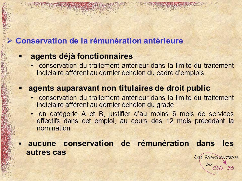 Conservation de la rémunération antérieure agents déjà fonctionnaires