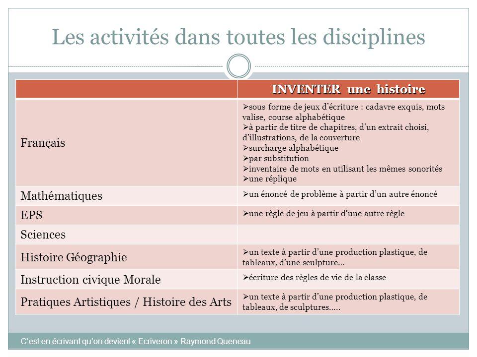 Les activités dans toutes les disciplines