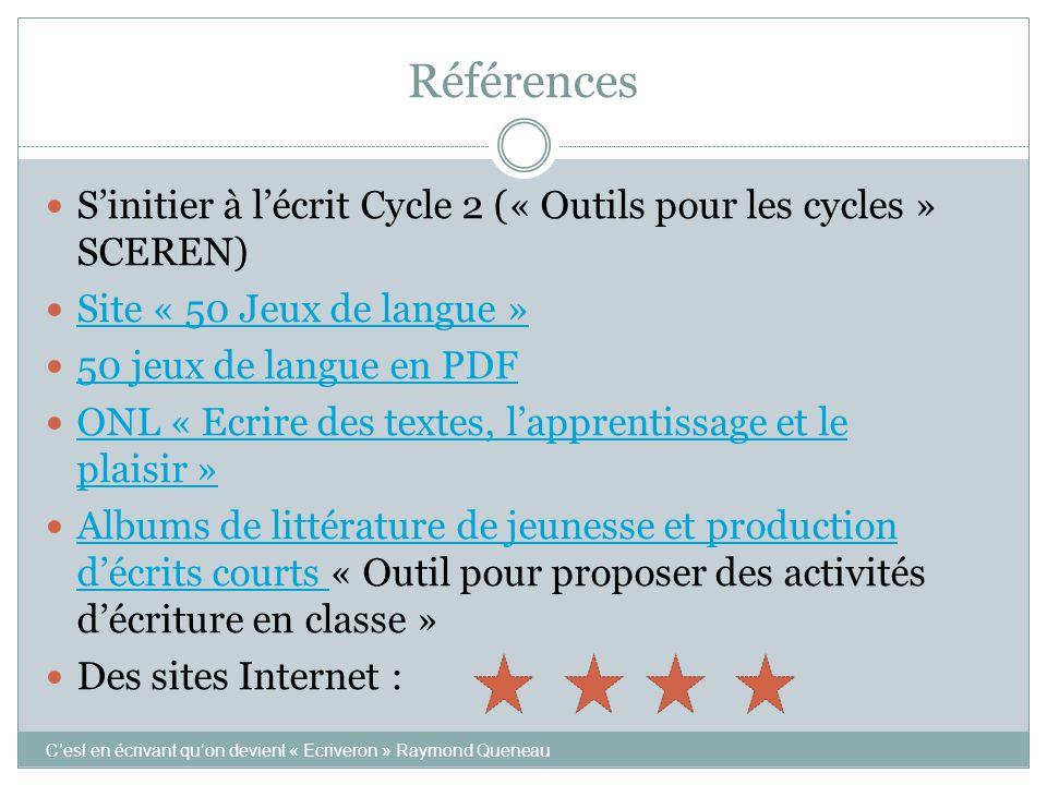 Références S'initier à l'écrit Cycle 2 (« Outils pour les cycles » SCEREN) Site « 50 Jeux de langue »