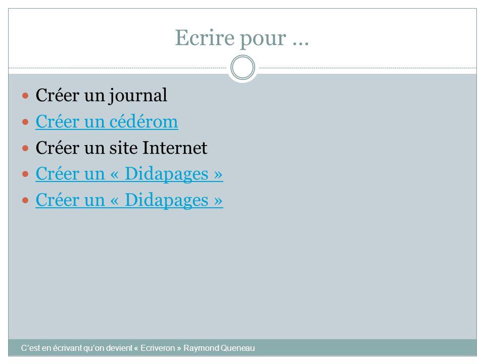 Ecrire pour … Créer un journal Créer un cédérom Créer un site Internet