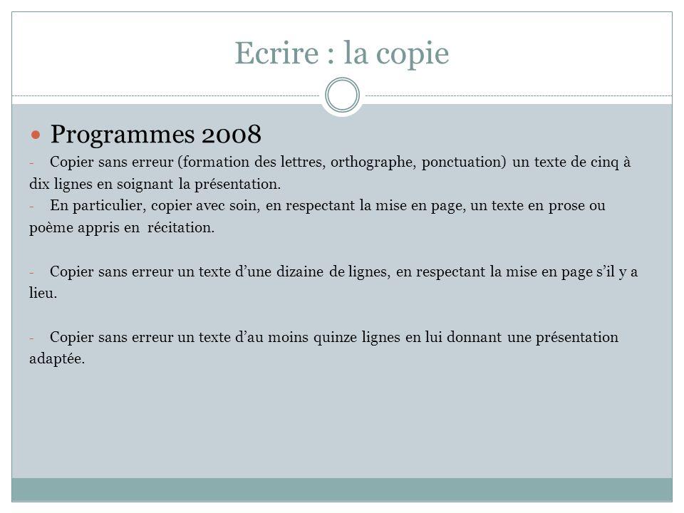 Ecrire : la copie Programmes 2008