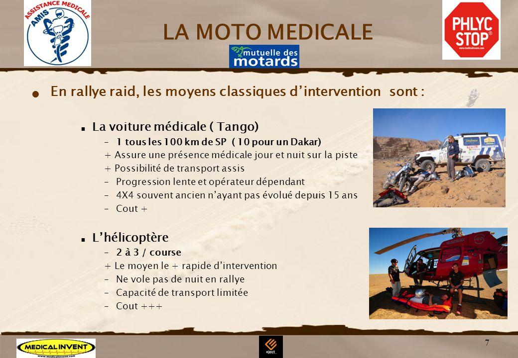 LA MOTO MEDICALE En rallye raid, les moyens classiques d'intervention sont : La voiture médicale ( Tango)