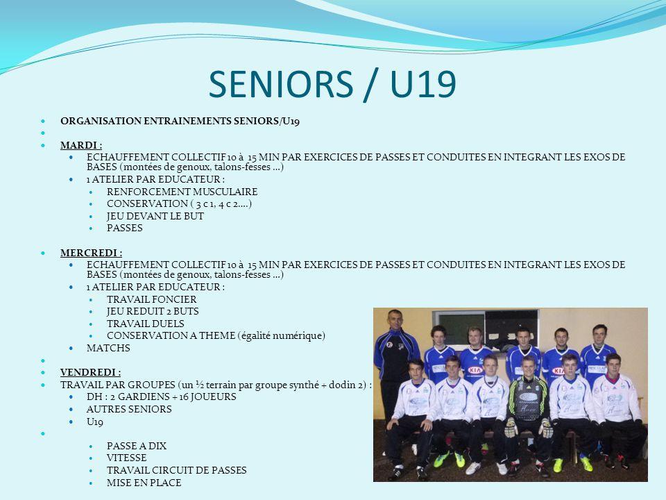 SENIORS / U19 ETRE L ABOUTISSEMENT DE NOTRE TRAVAIL DE FORMATION
