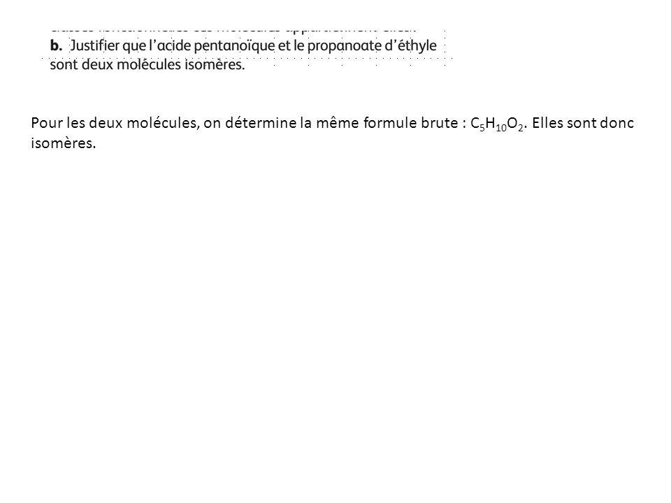 Pour les deux molécules, on détermine la même formule brute : C5H10O2