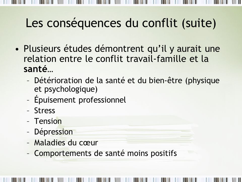 Les conséquences du conflit (suite)