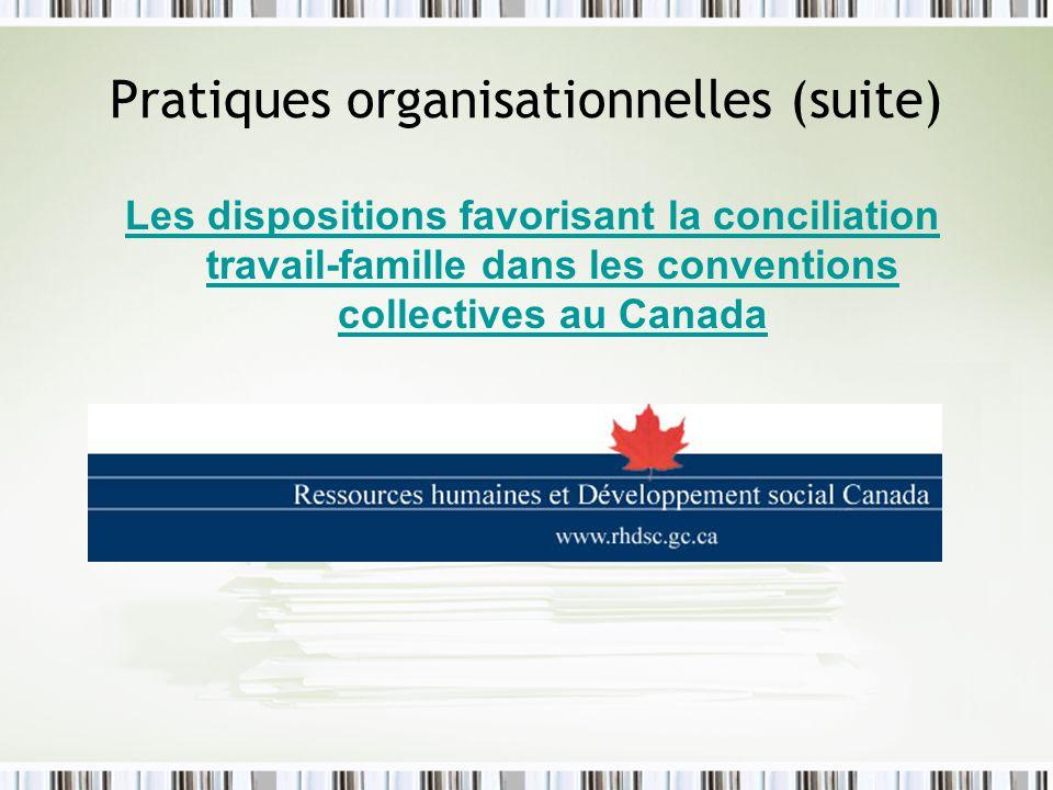 Pratiques organisationnelles (suite)