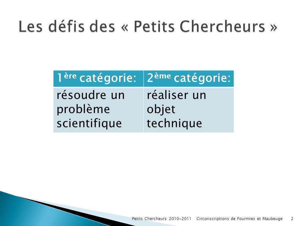 Les défis des « Petits Chercheurs »