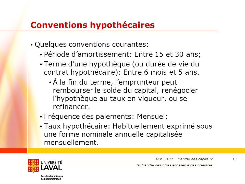 Conventions hypothécaires