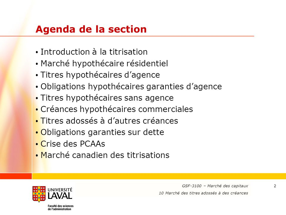 Agenda de la section Introduction à la titrisation