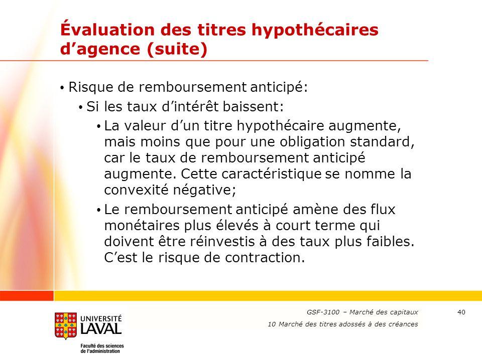 Évaluation des titres hypothécaires d'agence (suite)